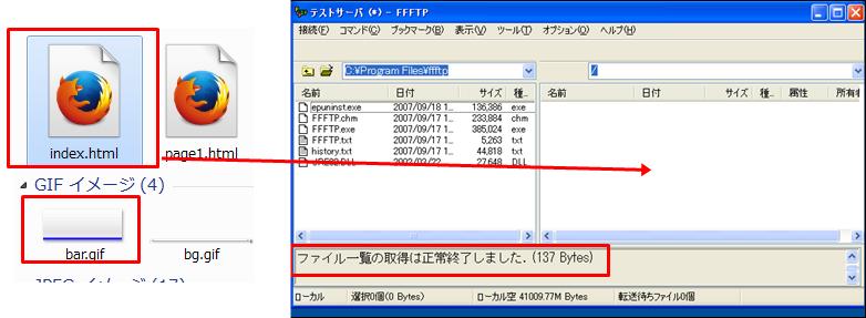 FFFTPの右側の窓に、ドラッグ&ドロップすればアップされます。